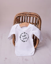 "Monochrome Tots ""Hello World"" Scandi design long sleeve bodysuit"