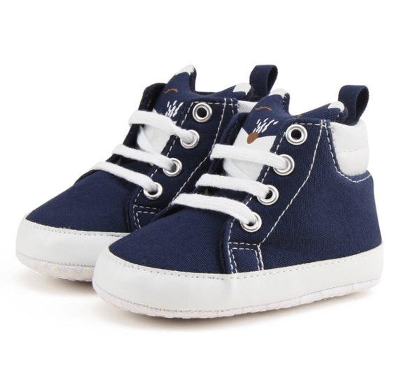 Clearance - 6-12 months - Navy Fox high tops booties