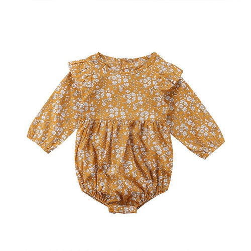 Mustard yellow flower and fern frill sleeve ruffle jumpsuit (0-2 years)