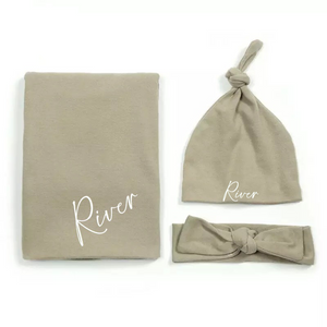 Khaki personalised newborn gift hat and shawl set - 0-6 months