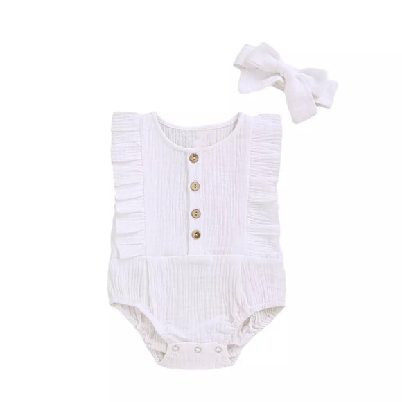 White muslin button romper with matching headband (0-12 months)