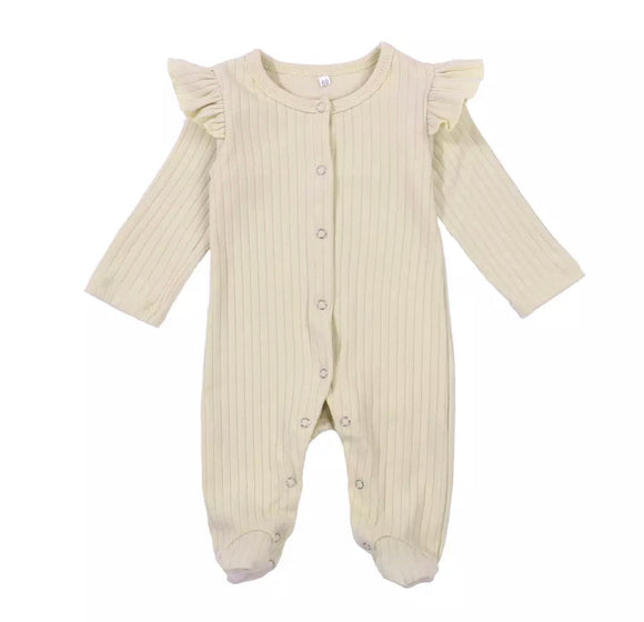 Nude vintage ribbed footed romper (0-6 months)