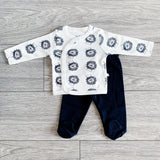 Super luxe cotton navy lion print top and footed leggings (up to 9 months)