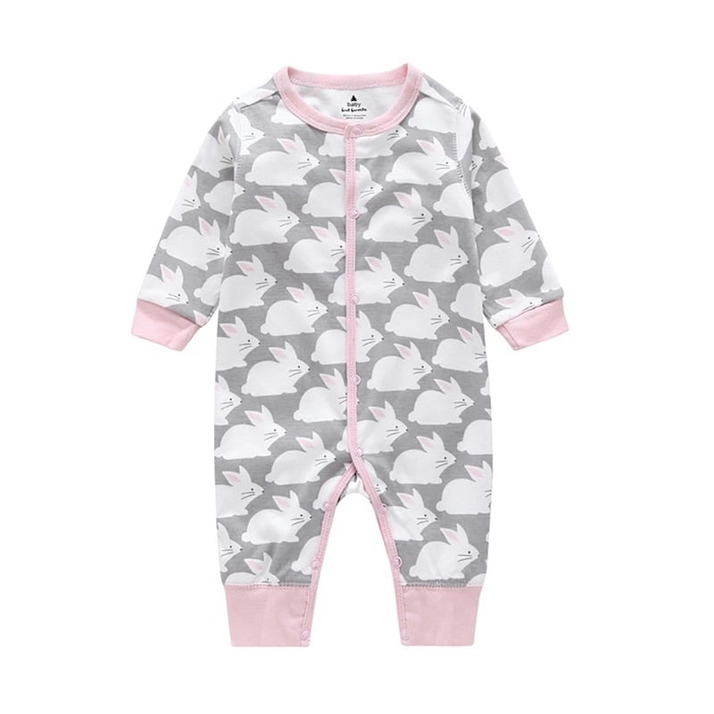 Soft grey and pink bunny rabbit print footless romper