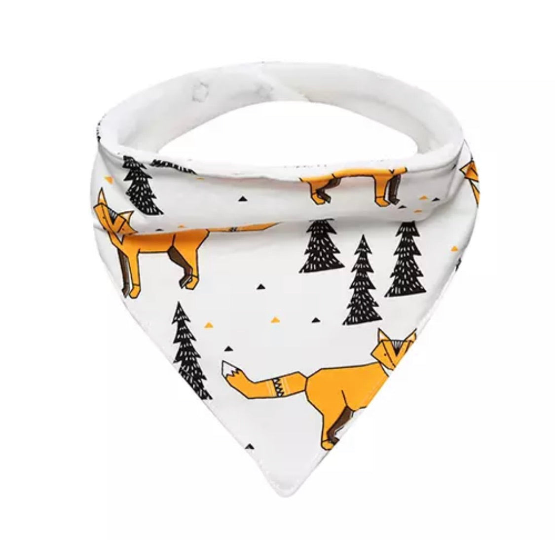 Fox in the woods terry lined cotton bandana dribble bib