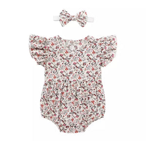 Berry blossom frill sleeved romper with complementary matching headband (up to 18 months)