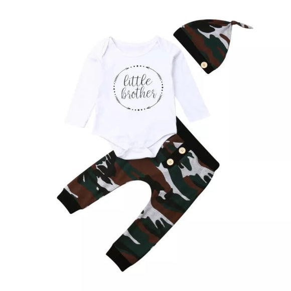 Camo little brother three piece outfit - hat top and trousers (3m-12m)