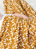 Giant cotton muslin mustard fern print swaddle blanket 120cm
