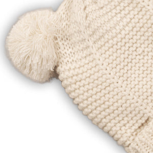 Cream double Pom Pom knitted hat with neck tie