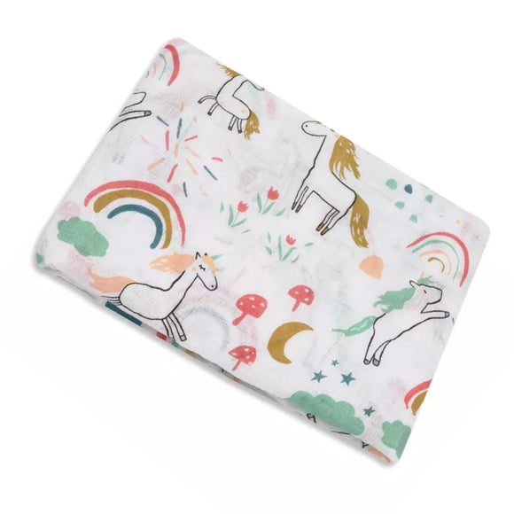 Extra large 120x120cm 100% bamboo cotton muslin rainbow and unicorn swaddle blankets