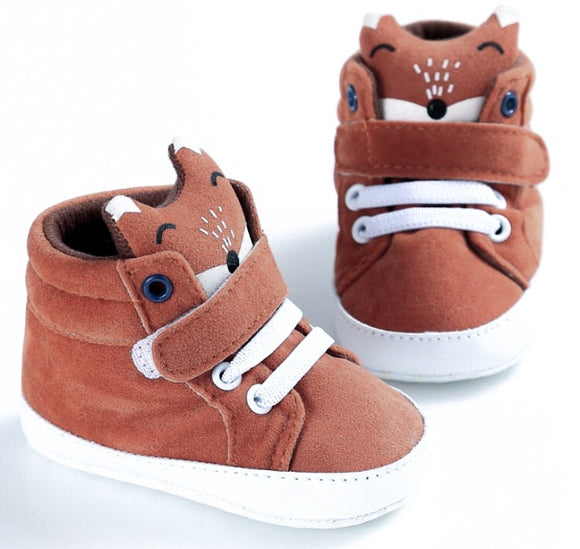 Clearance 0-12 months - Orange Tan Fox High Tops Booties