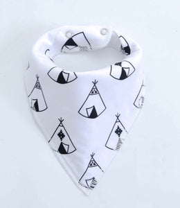Teepee tribal monochrome dribble bib