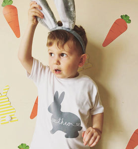 Personalised baby rabbit Easter short sleeve bodysuit or T-shirt for toddlers (0-3 years) - Order by 15/04/19 for Easter Delivery when selecting super saver shipping