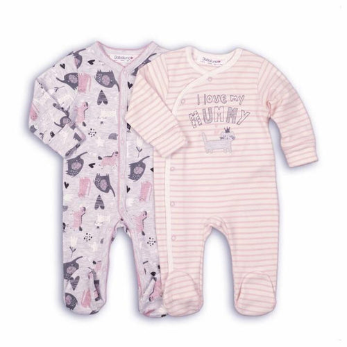 I love my mommy - pink animal print sleepsuit babygrow double set (0 to 12 months)