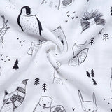 Giant bamboo cotton  monochrome winter animals swaddle muslin blankets