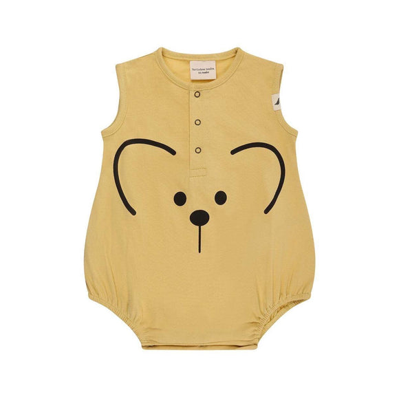 GOTS certified yellow mouse organic cotton bubble romper by Turtledove London (up to 24 months)