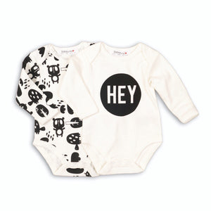 Hey! Two pack long sleeve animal print monochrome cotton bodysuits (0-6 months)