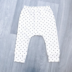 Heart print white and navy jersey cotton leggings