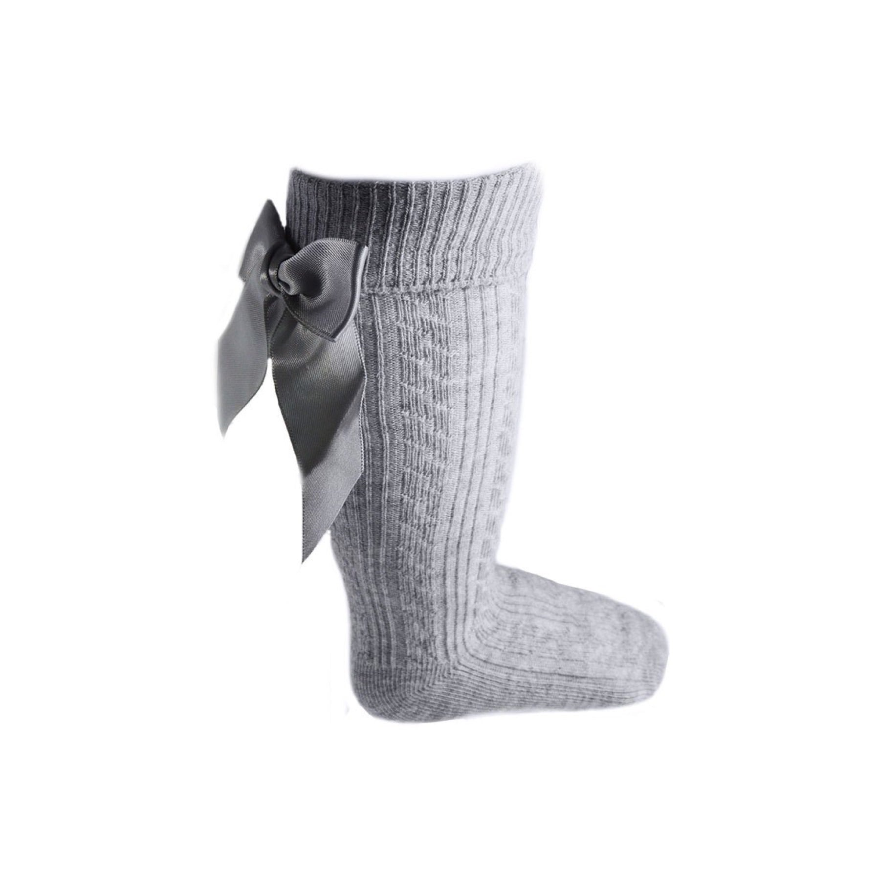 Grey knee length socks with satin bow (0-24 months)