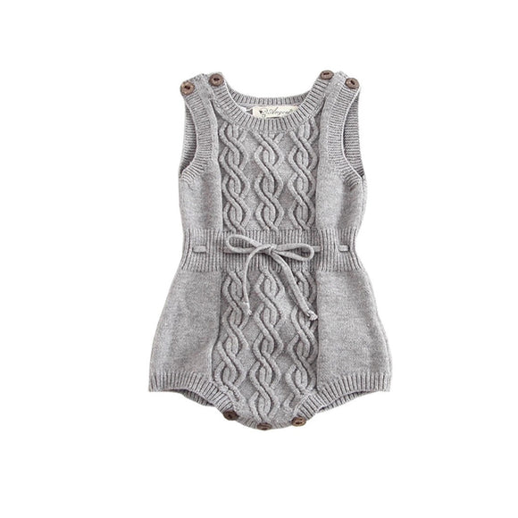 Grey chevron knitted romper (0-2 years)