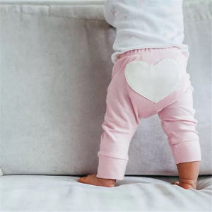 Heart design jersey cotton pink leggings