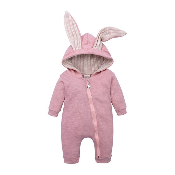 Pink bunny rabbit ear hooded zipped romper