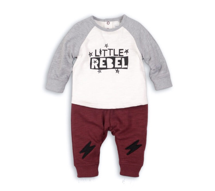 Little rebel two piece bolt lightening set (sizes 0 to 12 months)