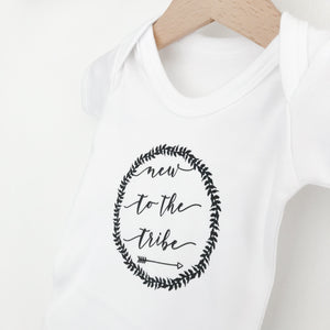New to the tribe short sleeve white bodysuit