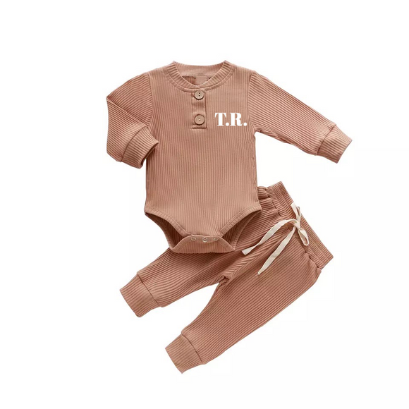 Sand two piece ribbed set with personalisation (up to 18 months)