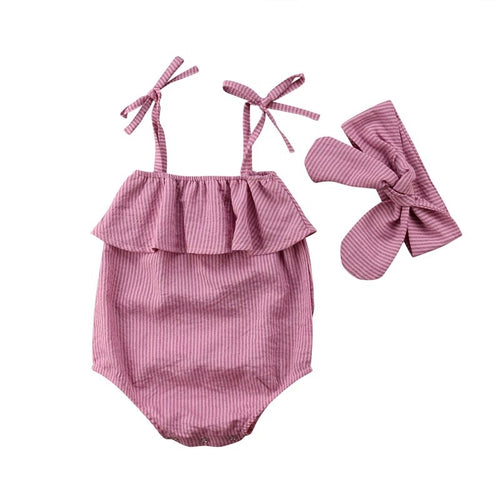 Dusky pink frill bandeau summer romper with headband