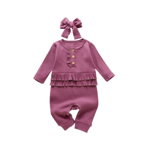 Blackcurrant ribbed frill sleeve romper (3-24 months)