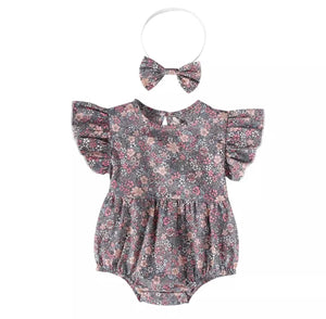 Meadow blossom frill sleeved romper with complementary matching headband (up to 18 months)
