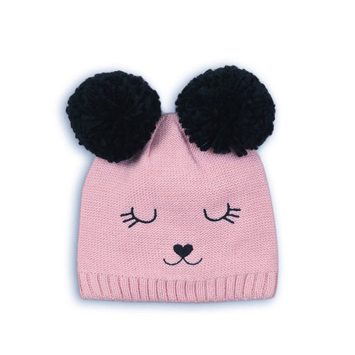 Pink and black double Pom Pom knitted hat with bear appliqué