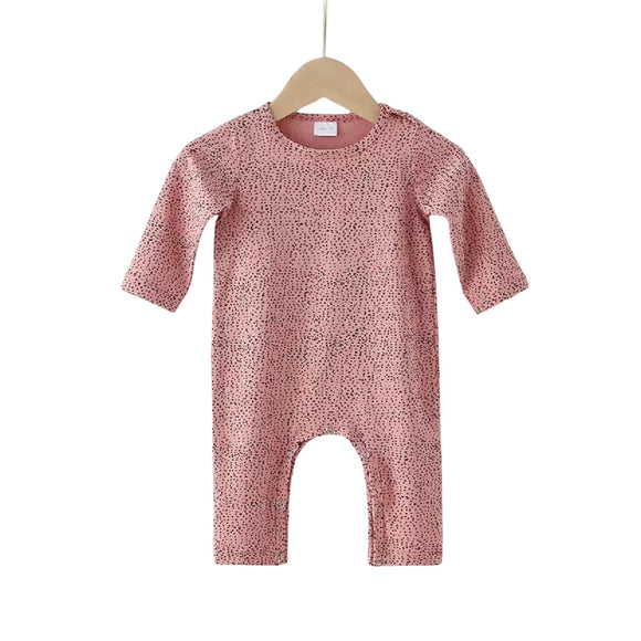 Pink dot footless plain chest romper (up to 18 months)