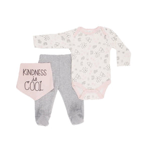 Kindness is cool - soft pastel print 3 piece set. Long sleeve bodysuit, bib and footed leggings (0 to 9 months)