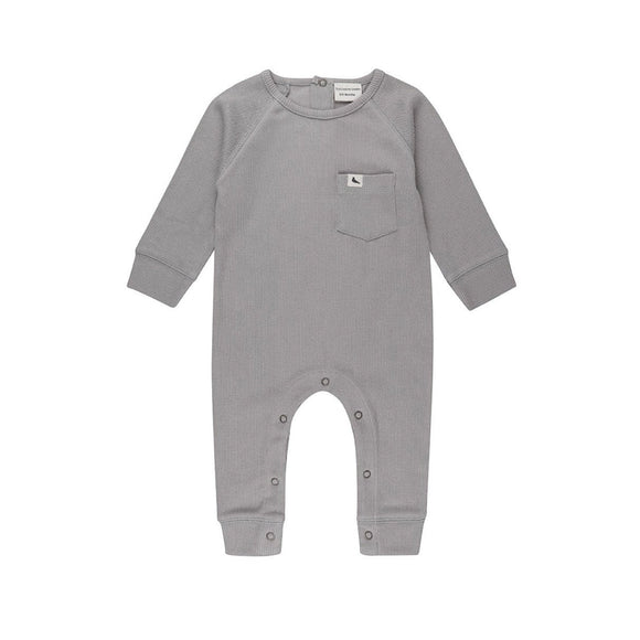 Grey ribbed organic cotton ribbed footless playsuit by Turtledove (0-12 months)
