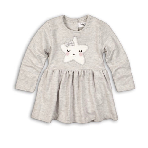 Star lashes grey dress and bodysuit set with star bow appliqué (0 to 12 months)
