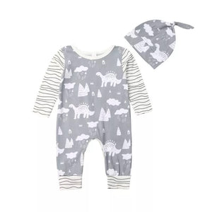 Grey dinosaur romper and hat set (0-2 years)