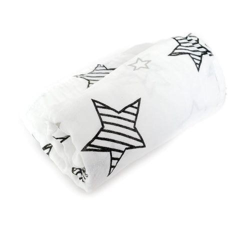 Giant 120cmx120cm monochrome stripe star print muslin swaddle blanket