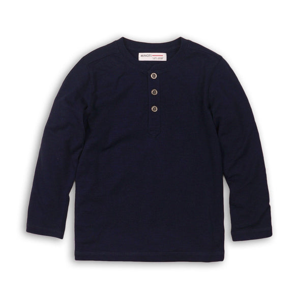 Clearance - 9-12 months - Navy long sleeved Henley jersey cotton top