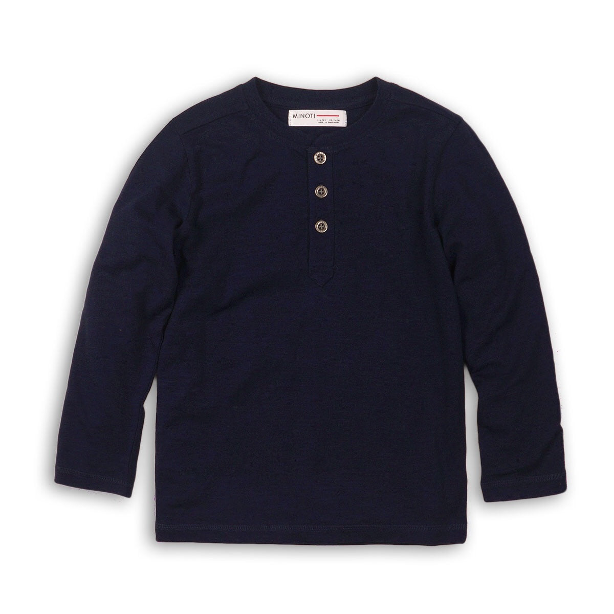 Navy long sleeved Henley jersey cotton top (9 months to 3 years)