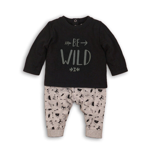 Be Wild Black teepee arrow and fox print jersey set (sizes 0 months to 2 year)