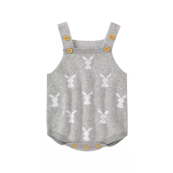Bunny rabbit print rabbit knit Pom Pom romper - grey - up to 2 years