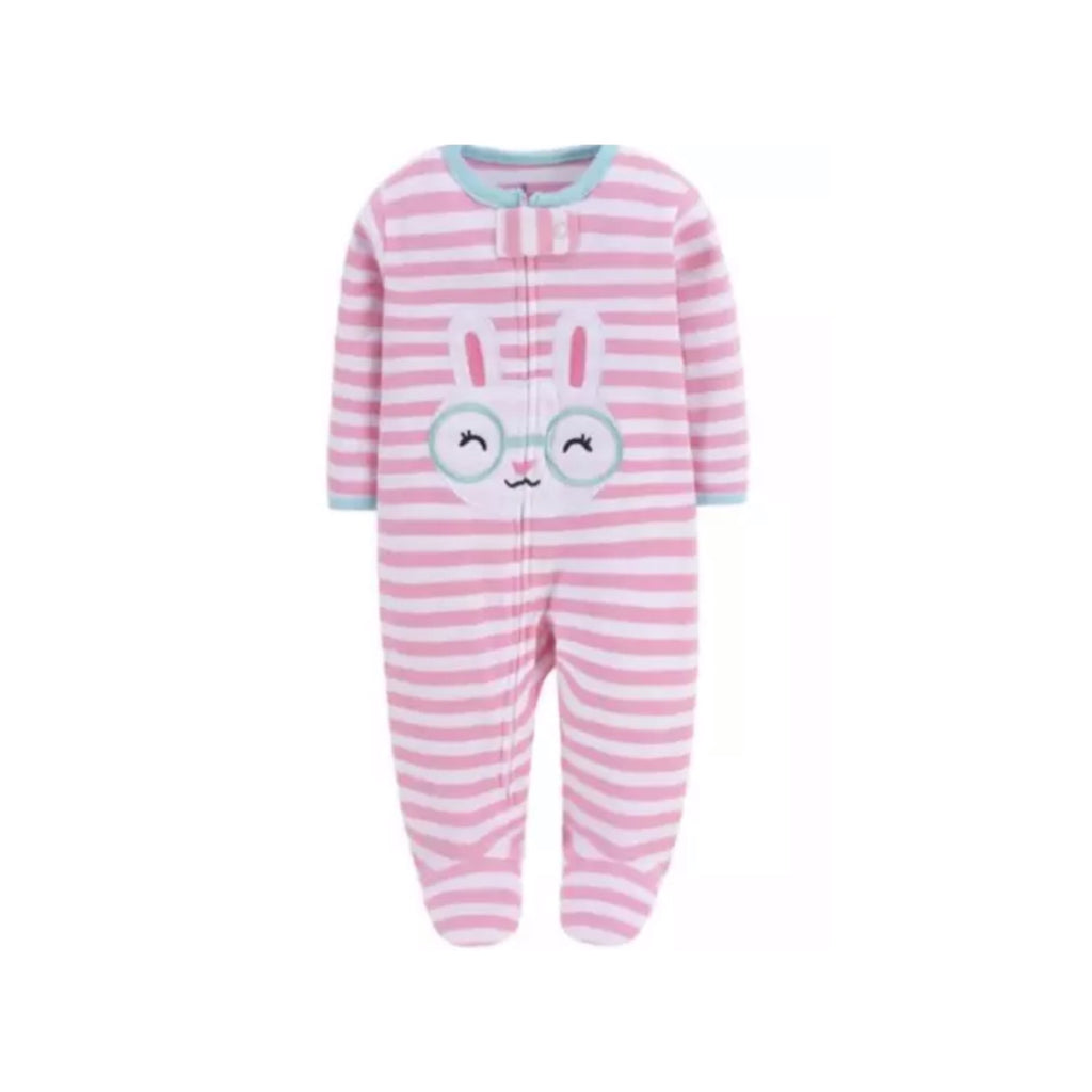 Embroidered bunny and candy stripe zippy sleepsuit (up to 12 months)