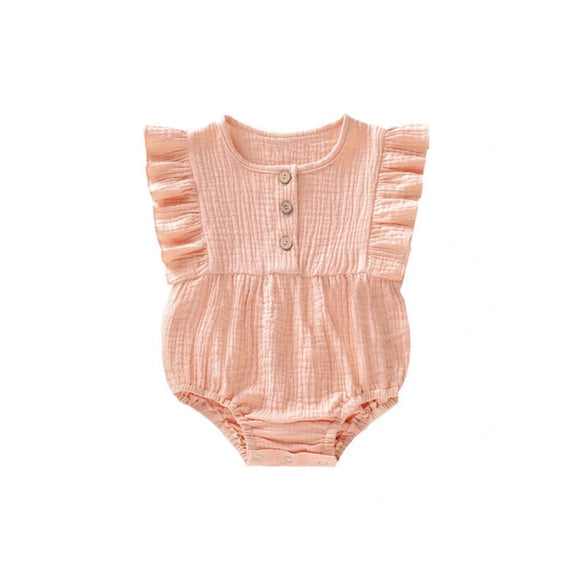 Clearance - 6-9 months - Coral blush muslin frill romper with buttons