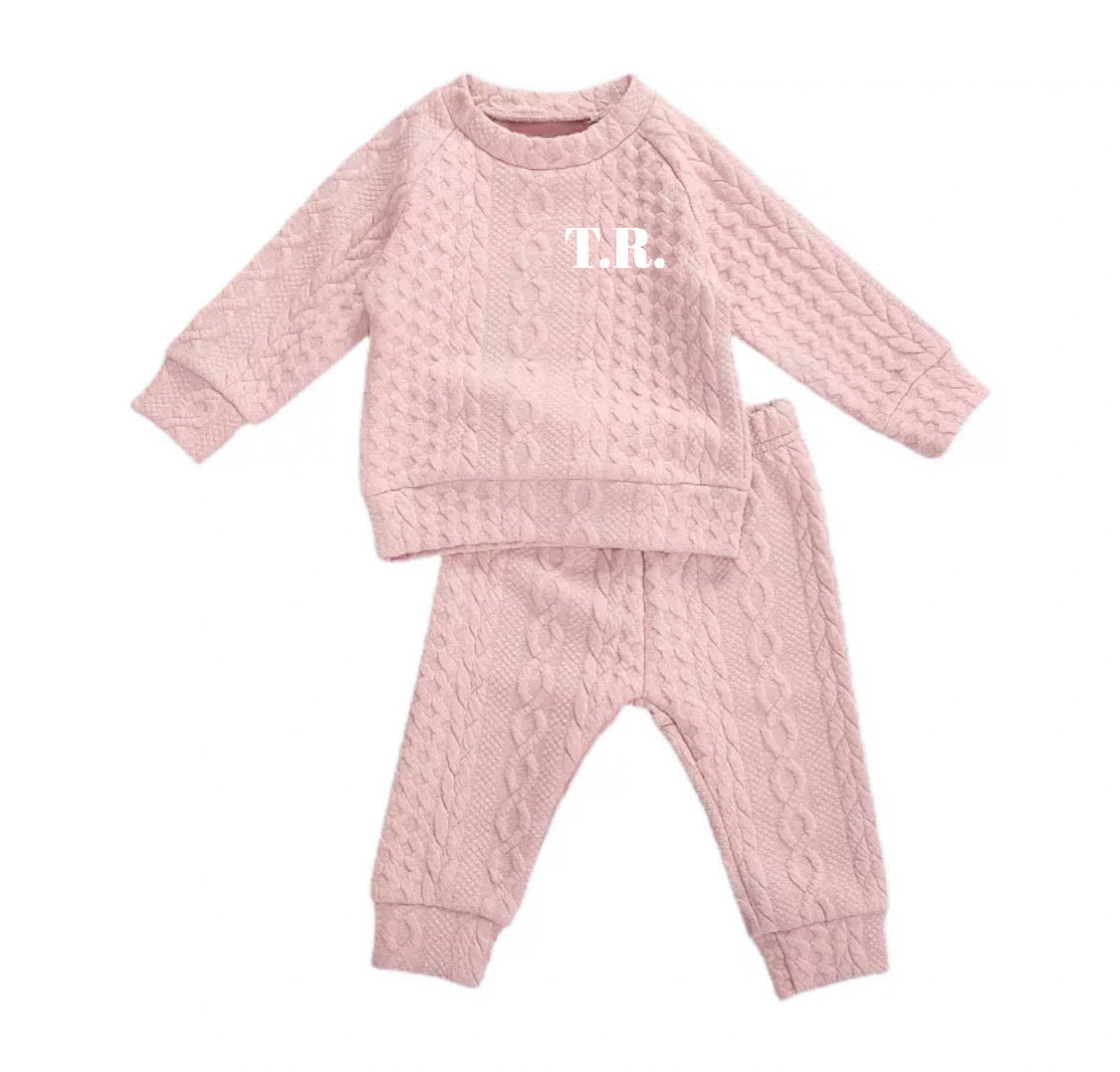 Dusky pink cable print jersey personalised lounge suit - (up to 18 months)