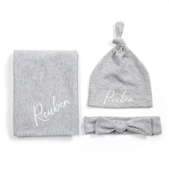 Grey personalised newborn gift hat and shawl set - 0-6 months
