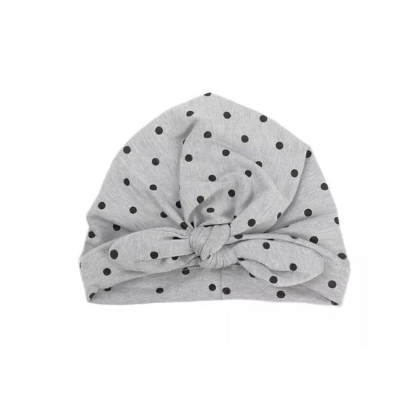 Polka dotty grey head wrap with bow knot (0-2 years)