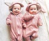 Pink bunny rabbit ears hooded zipped romper