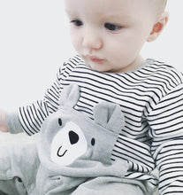 Unisex breton stripe bear grey footless romper